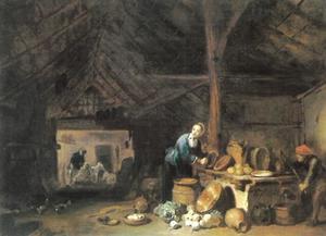 Boereninterieur met vrouw die een ketel schrobt