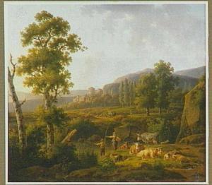 Landschap met herders bij zonsopgang