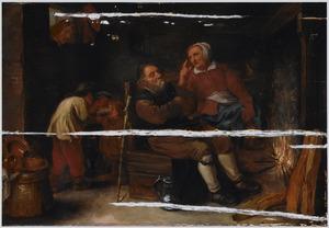 Boerenfamilie in een interieur