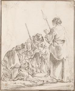 Twee boeren en een vrouw met een spinrokken