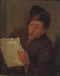 Man die een brief voorleest of zingt