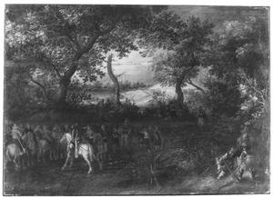 Boslandschap met cavalerieofficier die zijn manschappen toespreekt, op de achtergrond een konvooi