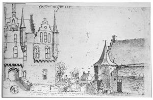 Voorburcht van kasteel Gemert met links het poortgebouw