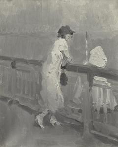 Meisje leunend over een balustrade aan zee