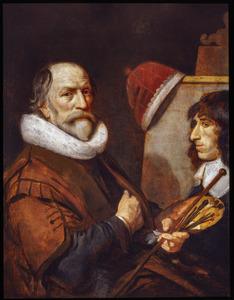 Zelfportret van Michiel Jansz. van Mierevelt (1566-1641) terwijl hij zijn kleinzoon Jacob Willemsz. Delff II schildert