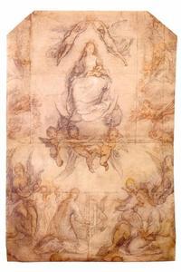 Maria met kind op de maansikkel met de heilige Cecilia en musicerende engelen