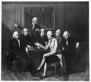 Groepsportret van de directeuren en de secretaris van de Teylers Fundatie te Haarlem, 1786