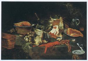 Keukenstilleven met groente, vlees, een kreeft, en een hond