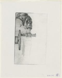 Zelfportret aan het wiel van de etspers