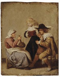Drinkende jonge man en oude vrouw, ernaast een staande jonge vrouw