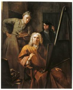 Groepsportret van Aert Schouman (1710-1792), Cornelis van Lill ( -1743) en zijn kleinzoon Cornelis van Lill