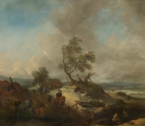 Duinlandschap bij stormachtig weer, met paarden en baders