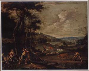 Landschap met Kain en zijn familie, die het land bewerken