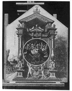 Het laatste avondmaal. In de achtergrond de gang naar Gethsemane (links) en Christus op de Olijfberg (rechts)