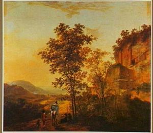 Zuidelijk landschap met halthoudende reizigers bij een ruïne
