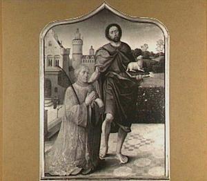 De H. Johannes de Doper en een kanunnik (op de achterzijde: een lijk in een grafnis)