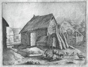 Schuur met half geopende deur in Schwalbach