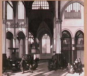 Interieur van de Oude Kerk te Amsterdam (zuidbeuk)