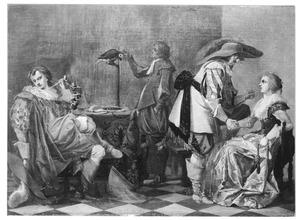 Interieur met een man die een vrouw een munt aanbiedt, een rokende man en een man met een papegaai