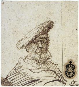 Kop van een bebaarde oude man met baret