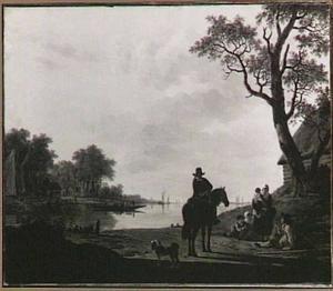 Rivierlandschap met postiljon te paard