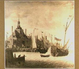 Schepen voor de Ooster Oude Hoofdpoort van Rotterdam