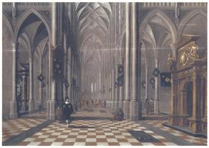 Gotisch kerkinterieur met figuren, rechts een barokke vestibule