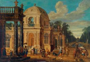 Elegante figuren bij een paleis