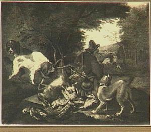 Rokende jager met drie honden bij jachtbuit