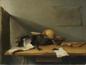 Stilleven met boeken en schedel