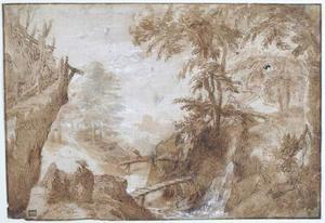 Boslandschap met rivier, rustende figuren, herder en vee