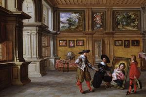 Interieur met mannen die een schilderij bekijken