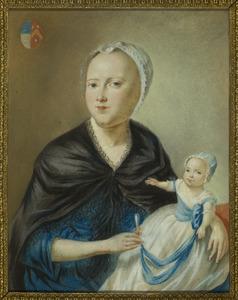 Dubbelportret van Agatha Wilhelmina Hogerwaard (1749-1800) en kind