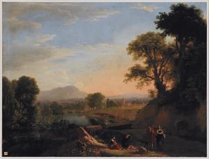 Zuidelijk rivierlandschap met reizigers pratend op een pad langs een water