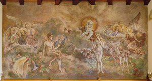 God brengt Eva naar  Adam en verbindt ze in de echt  (Genesis 2:22-25)