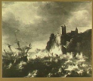 Schipbreuk; rechts een bergachtige kust met versterkte toren en kerkgebouw