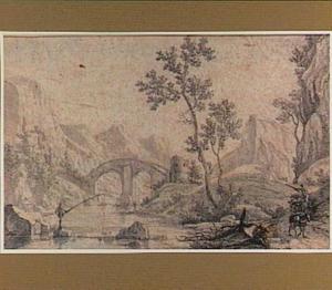 Bergachtig rivierlandschap met brug, visser en pakezels