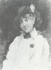 Portret van een jonge vrouw met witte blouse en hoed