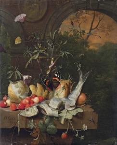 Stilleven met een haring, een wijnglas, vruchten en bloemen op een stenen tafel met een doorkijk naar een boslandschap