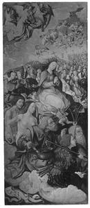 Maria omgeven door engelen, heiligen en figuren uit het Oude Testament