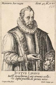 Portret van Justus Lipsius (1547-1606)  met zijn hondje Saphyrus