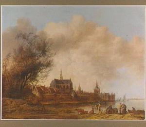 Gezicht op Haarlem vanuit het zuidwesten, het Spaarne in de voorgrond