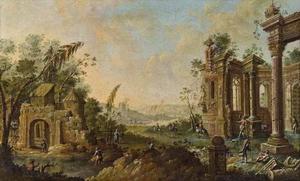 Capriccio met ruïnes en stoffage