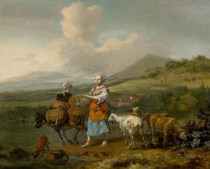 Uitgestrekt heuvellandschap met herderinnen en vee