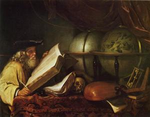 Oude geleerde omgeven door vanitas attributen