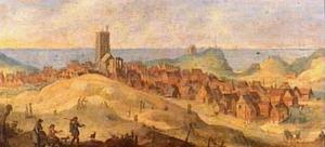 Landschap met gezicht op Egmond aan Zee