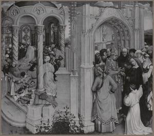 Het wonder van Jozefs bloeiende staf en het huwelijk van Maria en Jozef en de annunciatie (voorzijde); De HH. Jacobus en Clara (achterzijde)