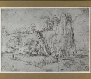 Landschap met fortificatie op een rots