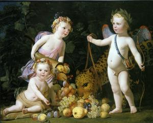 Allegorie met prins Willem II (1626-1650) als kind en twee zusters