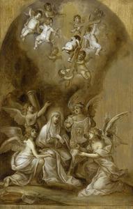 Maria omringd door engelen en passie attributen